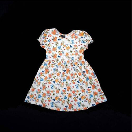 Girl's Cotton Knitted Short Sleeve Summer Frock Floral Print