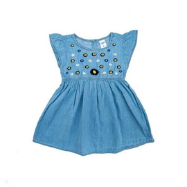 Girls Summer Denim Frock With Embroidery
